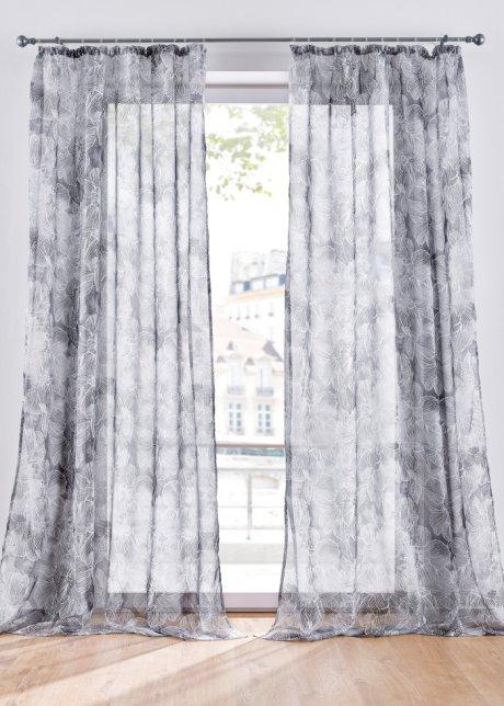 grå mönstrade gardiner