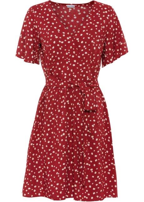 Prickig klänning med knytband och rysch aftonröd, mönstrad