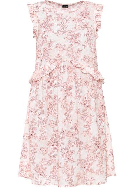 Klänning med trendiga volanger aprikosröd, blommig