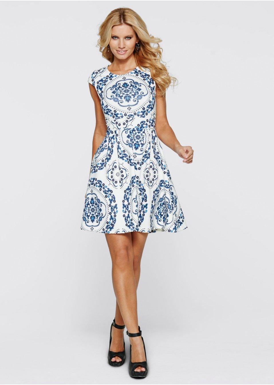 Klänning i scubalook blå vit - BODYFLIRT boutique beställa online -  bonprix.se 187cef21aa5da