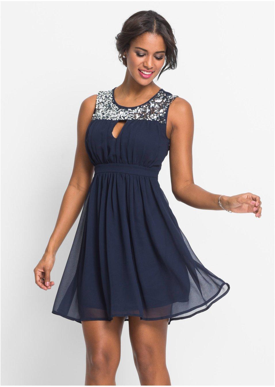 ff5dc9a9459d Festklänning med paljettinfällning blå - BODYFLIRT boutique köp online -  bonprix.se