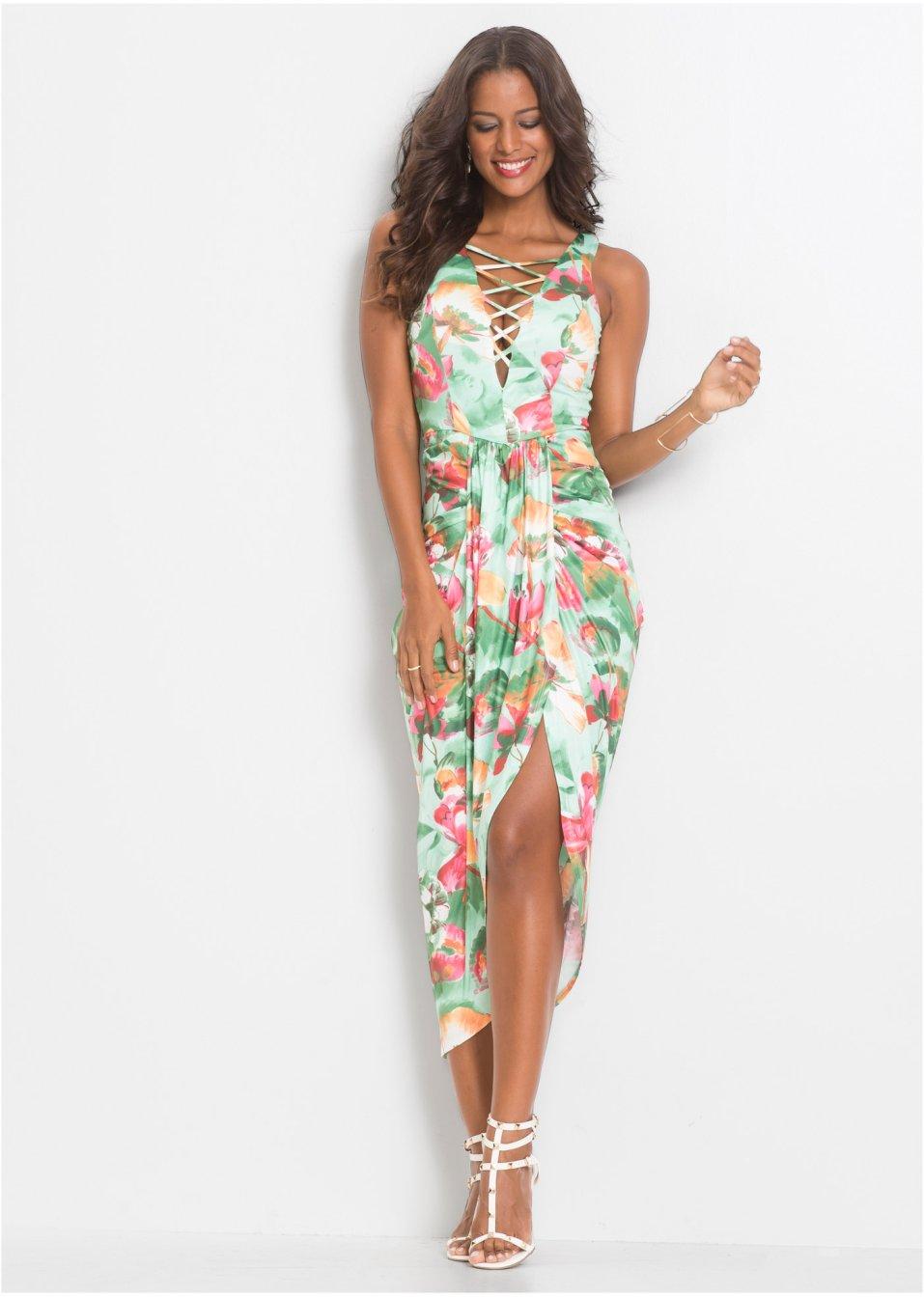 a2cfaa046fb6 Blommig klänning ljusgrön/ljusorange/pink - Dam - bonprix.se