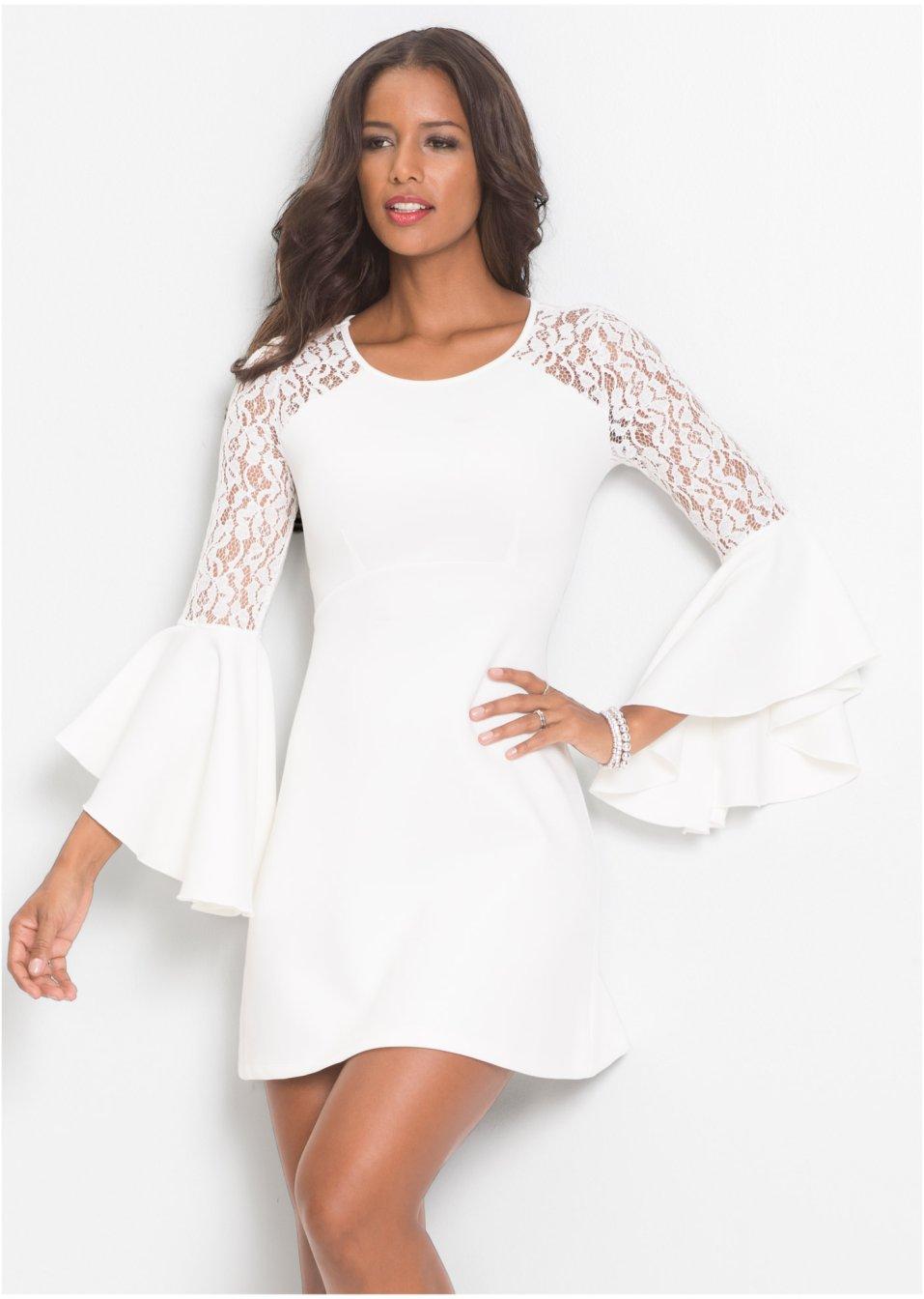 Klänning med volang och spets vit - Dam - BODYFLIRT boutique - bonprix.se 82f53a53396ac