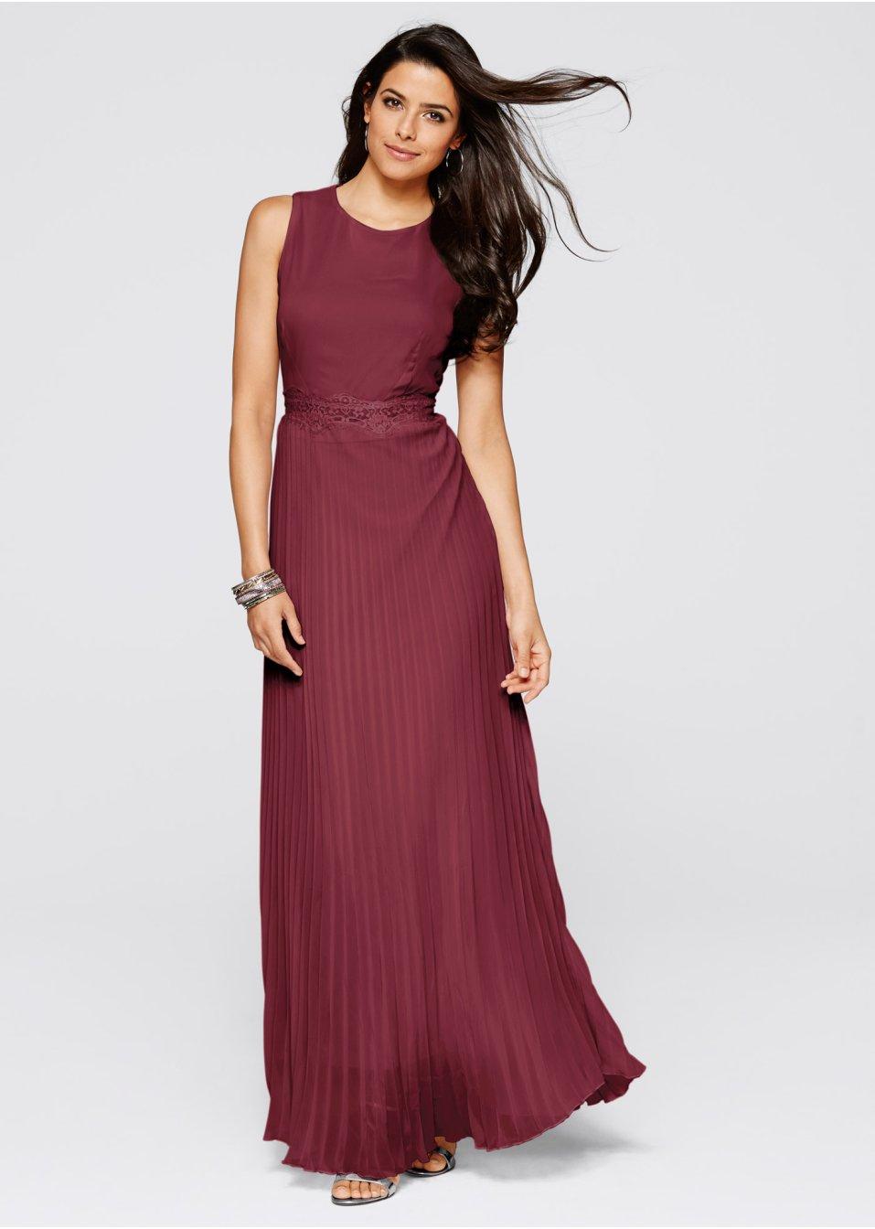Plisserad klänning mörkröd - BODYFLIRT boutique beställa online - bonprix.se f797254c7396e