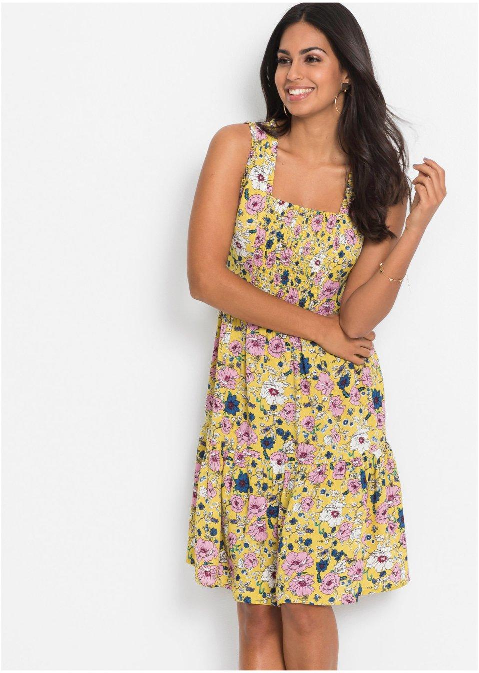 Alinjeformad jerseyklänning vaniljgul blommig bpc bonprix