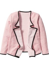 Draperad cardigan, bpc bonprix collection, rosa/ullvit, melerad