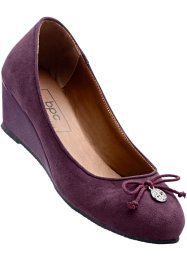 Ballerinasko med kilklack, bpc bonprix collection, aubergine