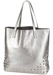 Shoppingväska med nitar, bpc bonprix collection, silver