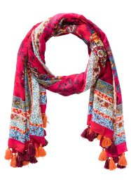 Sjal Paisley med tofsar, bpc bonprix collection, pink/orange