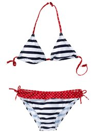 Bikini, bpc bonprix collection, mörkblå/vit, randig