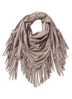 Trekantig sjal med fransar, bpc bonprix collection, beige