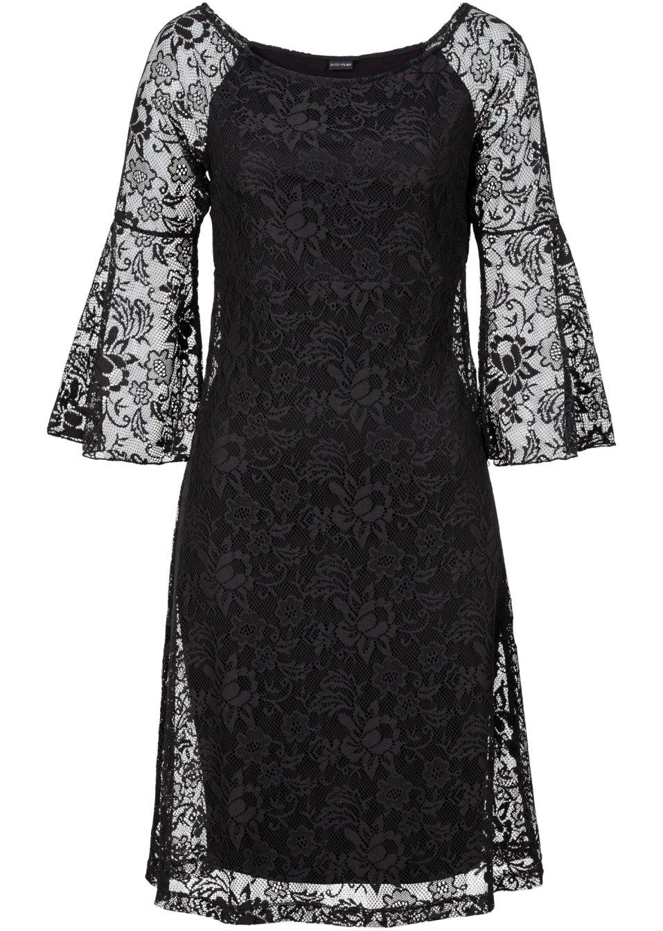 Singoallaklänning i spets svart   dam   bodyflirt   bonprix.se